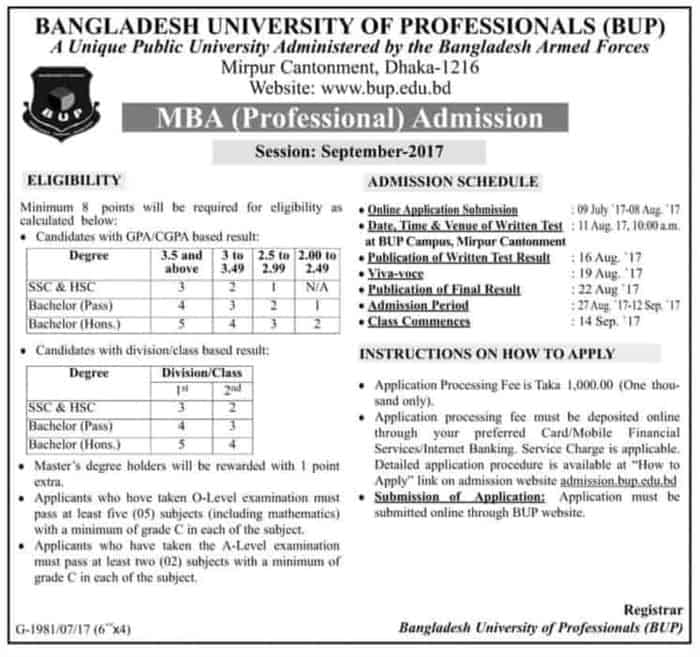 MBA (Professional) Admission Opportunity at BUP